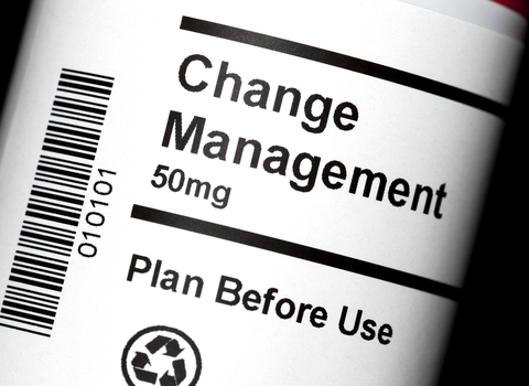 image of pill bottle reading Change Management, plan before use